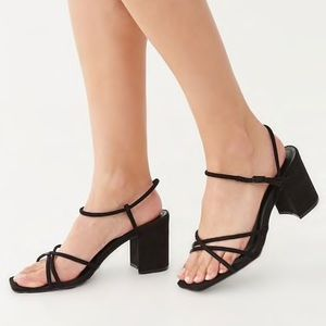 Square Toe Block Heel Strappy Shoes